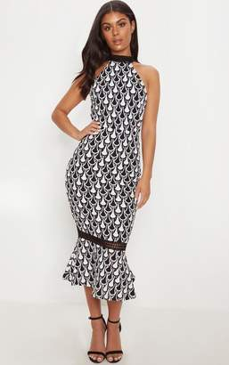 PrettyLittleThing Monochrome Crochet High Neck Midi Dress