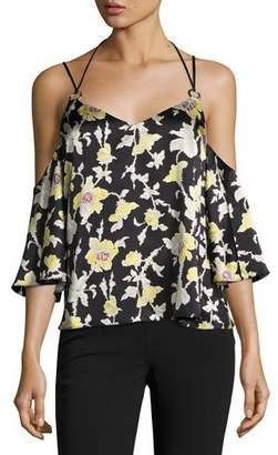 Cinq à Sept Rayna Floral Cold-Shoulder Top, Green/Black