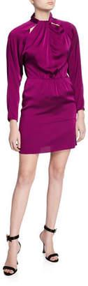 Milly Celeste Mock-Neck Cutout Back Stretch Silk Tie Short Dress