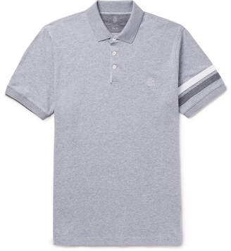 Brunello Cucinelli Slim-Fit Appliqued Melange Cotton-Jersey Polo Shirt - Gray