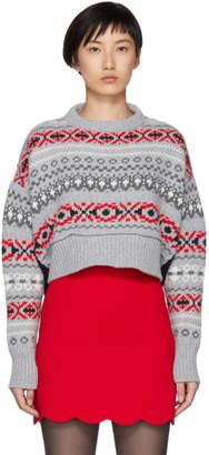 Miu Miu Grey Wool Patterned Sweater