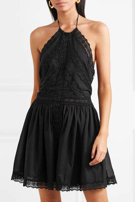 Charo Ruiz - Crocheted Lace-paneled Cotton-blend Mini Dress - Black