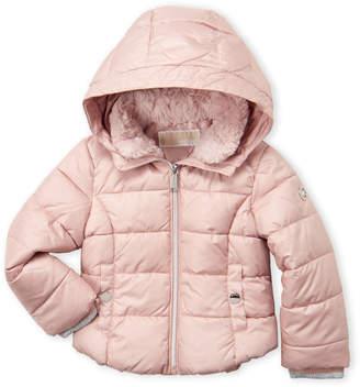 Michael Kors Toddler Girls) Faux Fur Collar Puffer Jacket