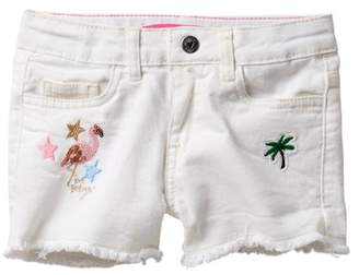 Betsey Johnson Patched Jeans Shorts with Fringe Hem (Little Girls)