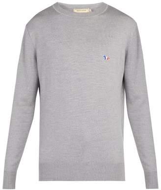 MAISON KITSUNÉ Crew Neck Wool Sweater - Mens - Grey