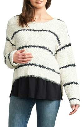 Maternal America High/Low Layered Maternity Sweater