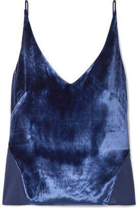 J Brand Lucy Velvet And Silk-georgette Camisole - Blue