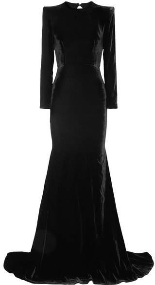 Alex Perry - Cutout Velvet Gown - Black