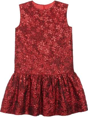 Oscar de la Renta Metallic Flower Jacquard Drop Waist Dress