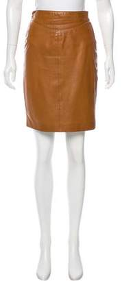 Gucci Leather Knee-Leather Skirt