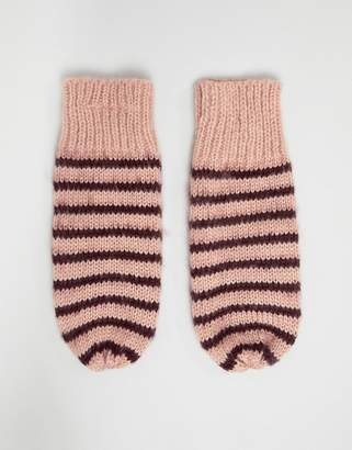 Vero Moda Knitted Striped Mittens