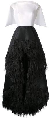 Isabel Sanchis feather-trimmed high-low Lengua gown