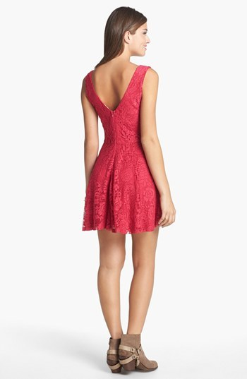 Robin K V-Back Lace Skater Dress (Juniors)