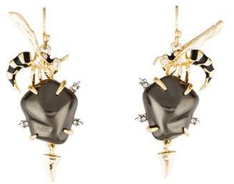 Alexis Bittar Crystal & Faux Pearl Hornet Drop Earrings