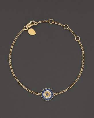 """Meira T 14 Kt. Yellow Gold/Diamond """"Evil Eye"""" Bracelet"""