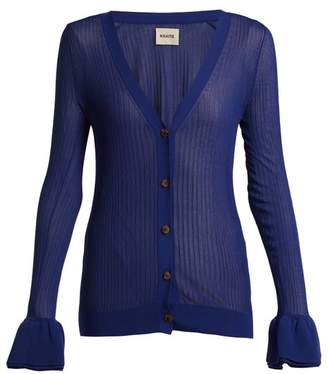 KHAITE Eloise Ruffled Cuff Ribbed Knit Cardigan - Womens - Dark Blue a23cf234c