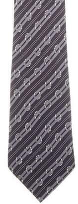 Hermes Silk Horseshoe Print Tie