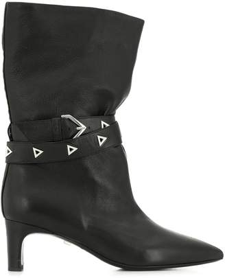 Grey Mer buckle detail boots
