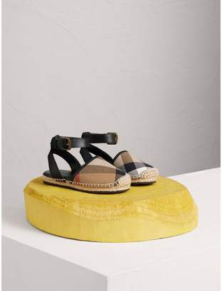 Burberry House Check and Leather Espadrille Sandals , Size: 25, Black