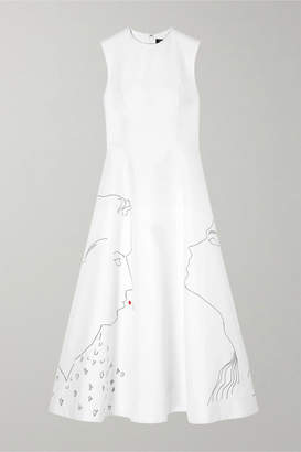 Calvin Klein Andy Warhol Foundation Embroidered Cotton And Silk-blend Midi Dress - White
