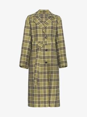 Dries Van Noten Check Belted Trench Coat