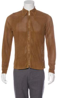 Gucci Vintage Perforated Suede Shirt Jacket