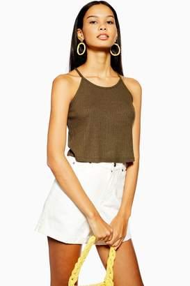 Topshop Womens Knitted Halter Neck Top - Khaki
