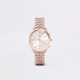 River Island Rose gold tone chain link rhinestone watch