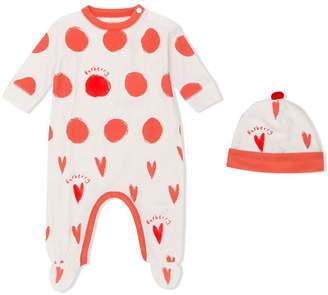 Burberry graphic spot and heart pajama and hat set