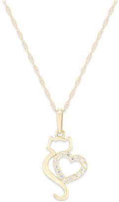 Macy's Cubic Zirconia Cat Love Pendant Necklace in 10k Gold