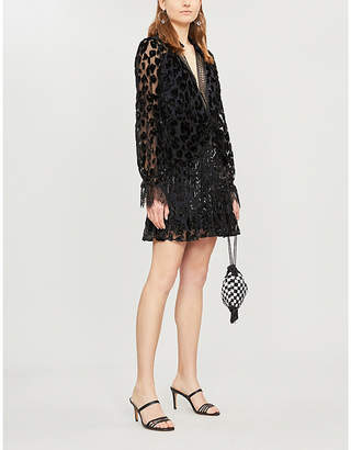 Self-Portrait Lace-trimmed metallic leopard-print crepe mini dress