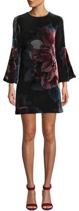 Trina Turk Astral Floral Velvet Bell-Sleeve Mini Dress