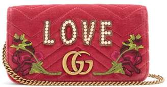 Gucci Gg Marmont Quilted Velvet Cross Body Bag - Womens - Pink