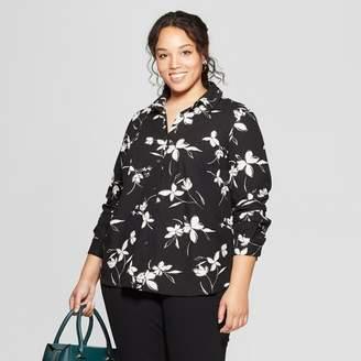 Ava & Viv Women's Plus Size Floral Print Long Sleeve Collared Button-Down Blouse Black