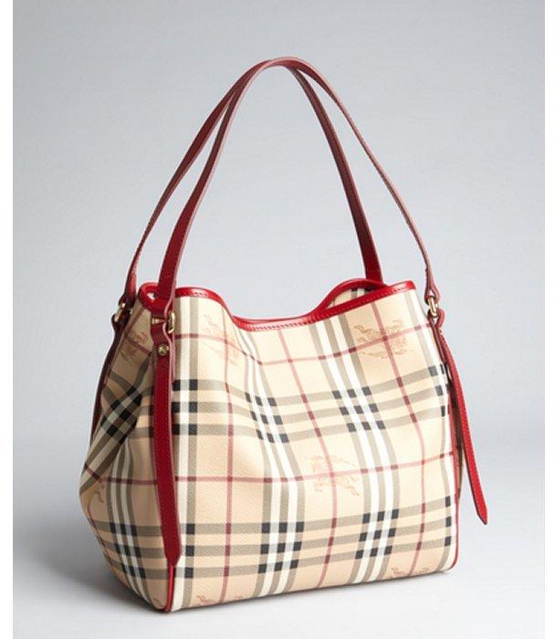 Burberry military red and nova check coated canvas 'Canterbury' shoulder bag