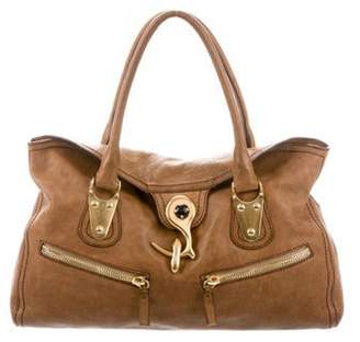Valentino Grained Leather Tote Cognac Grained Leather Tote