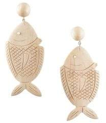 Rebecca de Ravenel Caspia Wood& Glass Large Fish Drop Earrings