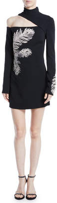 David Koma Mock-Neck Cutout-Shoulder Long-Sleeve Crepe Mini Dress w/ Embellished Feather