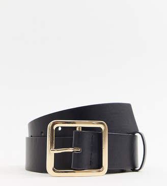 Glamorous Exclusive black waist and hip jeans belt with gold square buckle