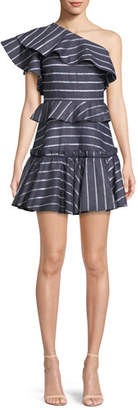 Prose & Poetry Grettel One-Shoulder Ruffle Striped Mini Dress