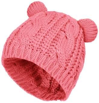 30f7398956f BIBITIME Cute Knitted Bear Ear Beanie Women Winter Hat Warmer Cap