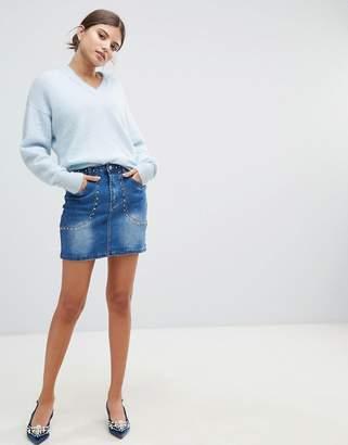Missguided Studded Denim Skirt