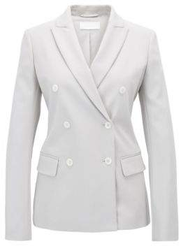 BOSS Hugo Double-breasted blazer in a stretch virgin-wool 8 Silver