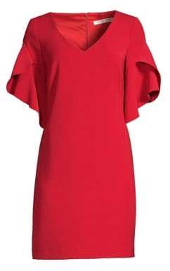 Trina Turk Women's Rock Bell Sleeve Shift Dress - Ruby Rose - Size 14