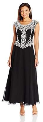 J Kara Women's Petite Cap Sleeve Beaded Top Long Dress