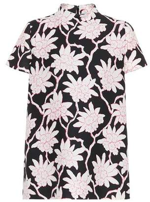 Valentino Floral-printed wool and silk top