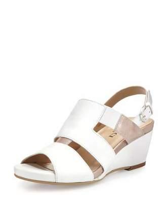 Sesto Meucci Kaleo Leather Wedge Sandal, White $285 thestylecure.com