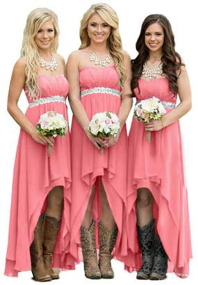Fanciest Women' Strapless High Low Bridesmaid Dresses Wedding Party Gowns US18W