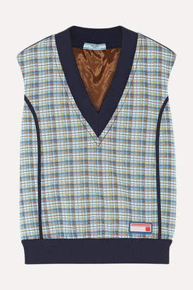 Prada Checked Jacquard-knit Sweater - Teal