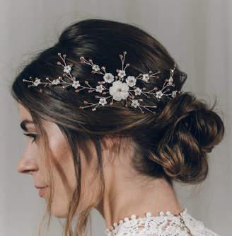 Carlisle Debbie Pearl Floral Wedding Hair Vine Comb Small Sylvie
